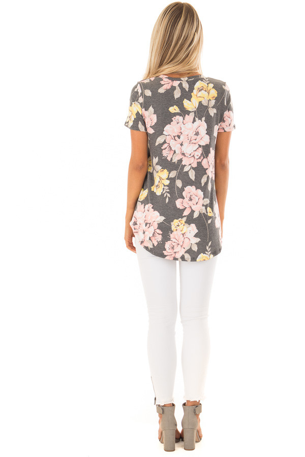 Charcoal Floral Print Short Sleeve Top back full body