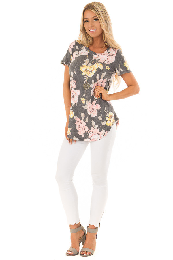 Charcoal Floral Print Short Sleeve Top front full body