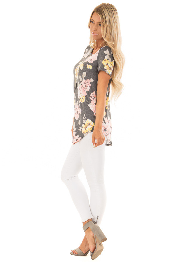Charcoal Floral Print Short Sleeve Top side full body
