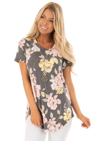 Charcoal Floral Print Short Sleeve Top front close up