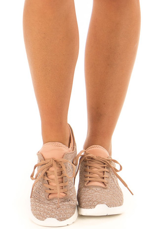 Rose Gold Sparkle Lace Up Sneakers with Waffle Knit Pattern front view
