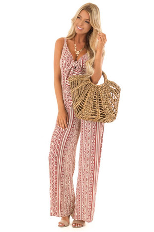 Rust and Ivory Geometric Print Jumpsuit with Front Cutout front full body