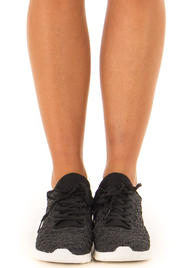 Onyx Sparkle Lace Up Sneakers with Waffle Knit Pattern front view