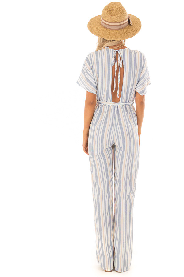 Navy and Khaki Striped Jumpsuit with Waist Tie back full body