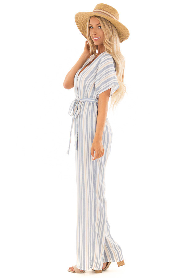 Navy and Khaki Striped Jumpsuit with Waist Tie side full body