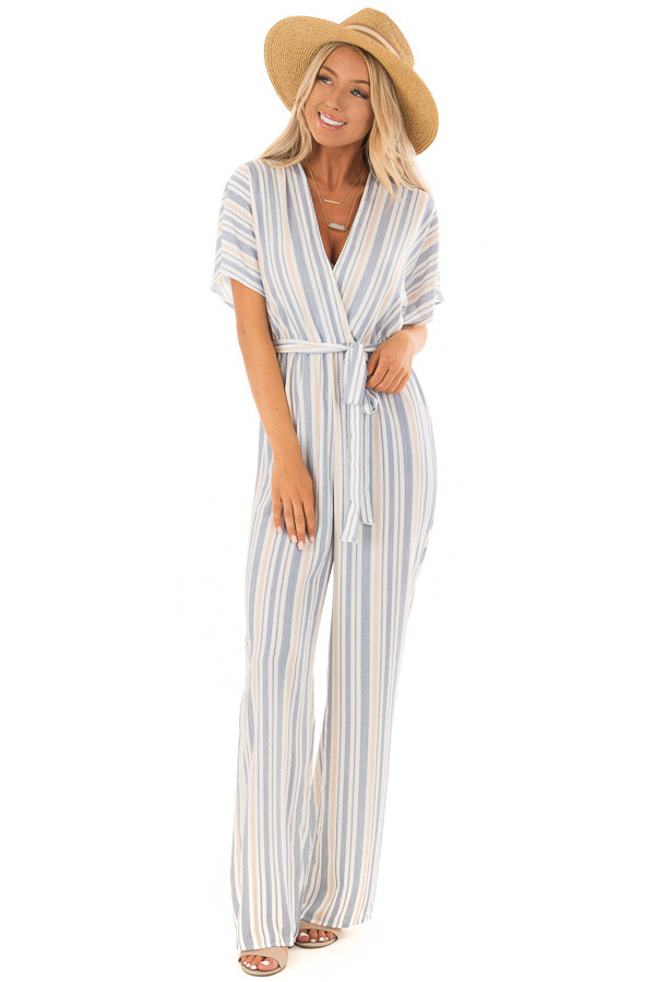 Navy and Khaki Striped Jumpsuit with Waist Tie front full body