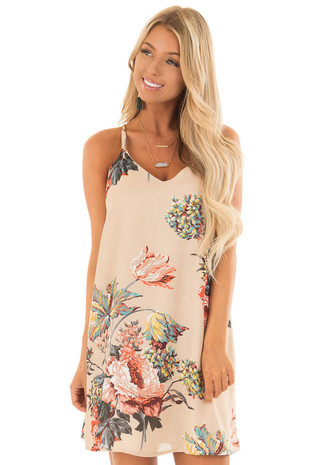 Latte Floral Print Short V Neck Dress with Strappy Back front close up