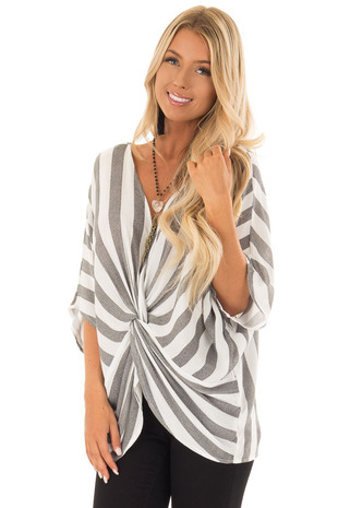 Charcoal and White Striped Top with Front Twist front close up