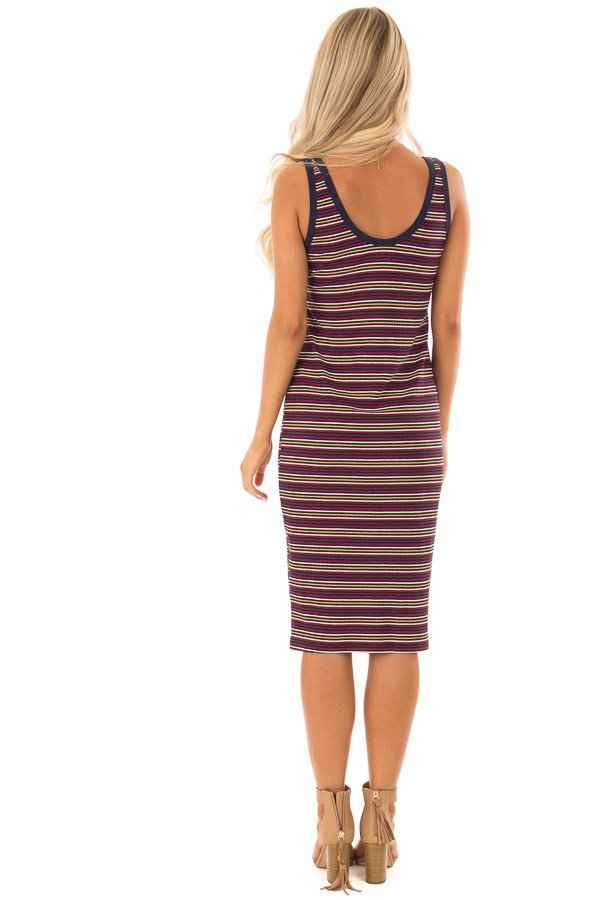 Comfy Multicolor Striped Ribbed Dress with Button Detail back full body