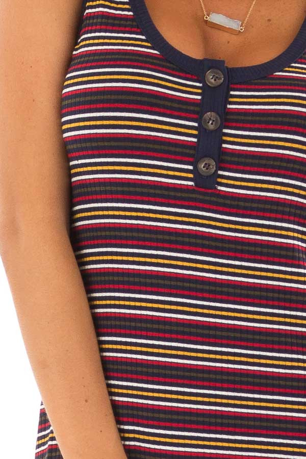 Comfy Multicolor Striped Ribbed Dress with Button Detail detail