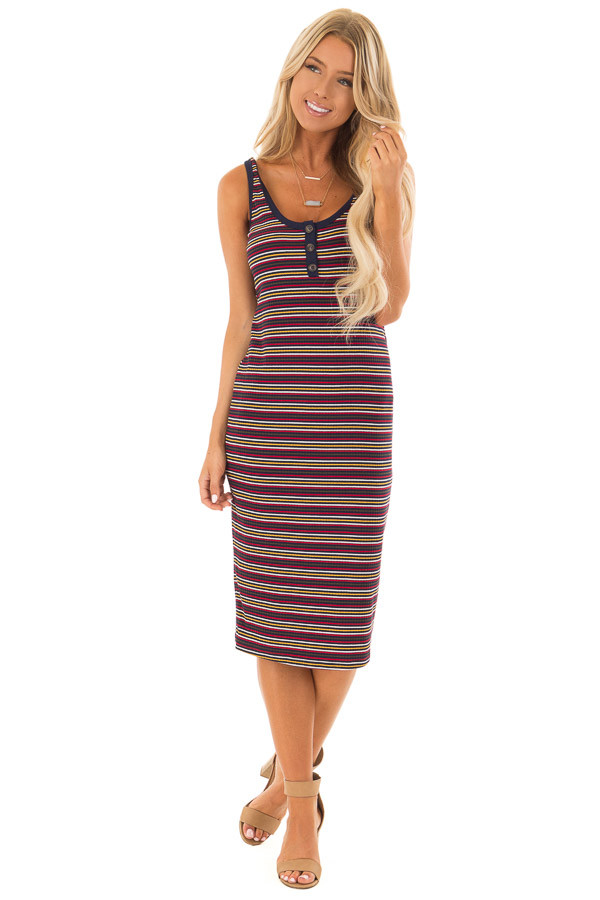 Comfy Multicolor Striped Ribbed Dress with Button Detail front full body