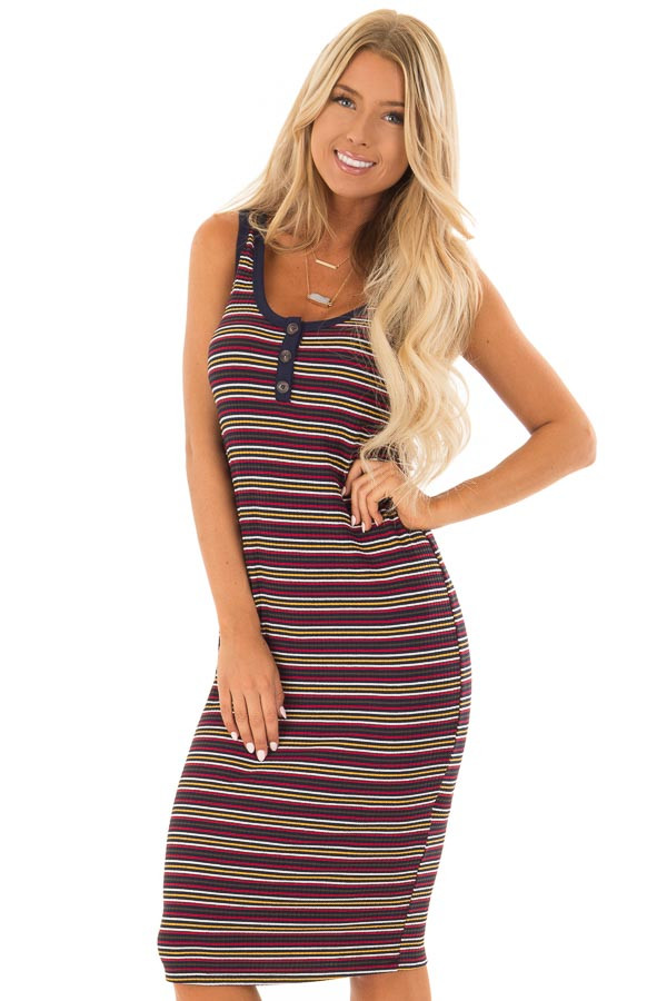 Comfy Multicolor Striped Ribbed Dress with Button Detail front close up