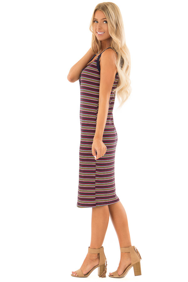 Comfy Multicolor Striped Ribbed Dress with Button Detail side full body