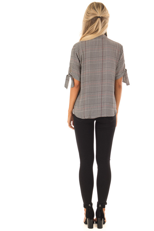 Black and Garnet Red Plaid Top with Tie Detail on Sleeves back full body