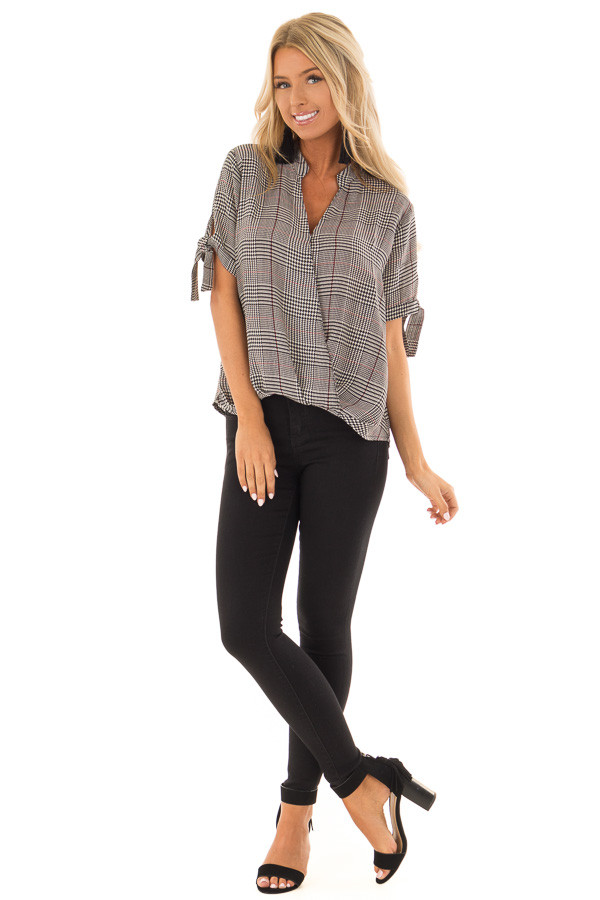 Black and Garnet Red Plaid Top with Tie Detail on Sleeves front full body