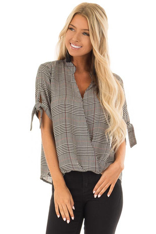 Black and Garnet Red Plaid Top with Tie Detail on Sleeves front close up