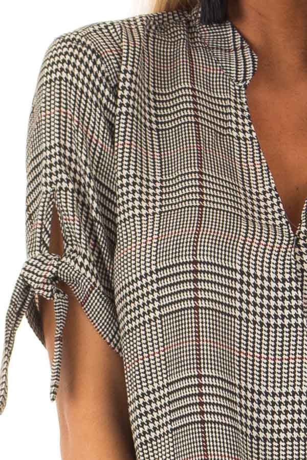 Black and Garnet Red Plaid Top with Tie Detail on Sleeves detail