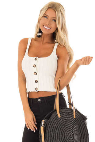 Ivory Ribbed Knit Button Up Cropped Tank Top front close up