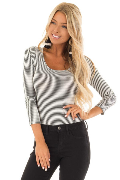 Black and White Striped 3/4 Sleeve Body Suit front close up