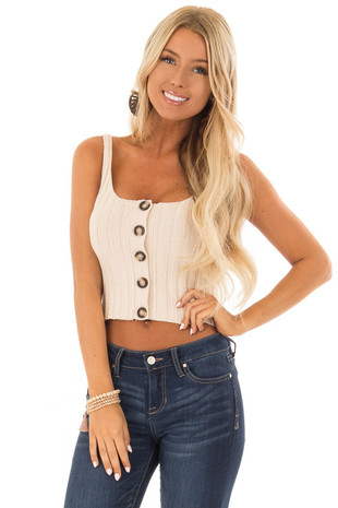 Tan Ribbed Knit Button Up Cropped Tank Top front close up