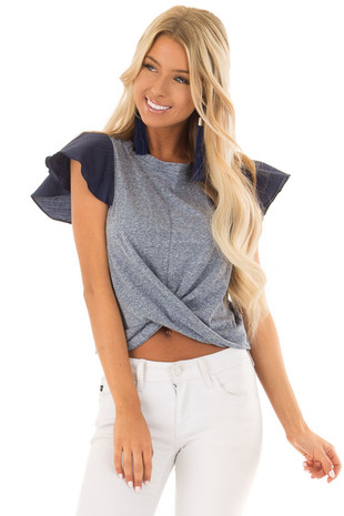 Navy Two Tone Short Flutter Sleeve Tee front close up