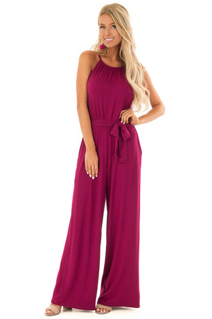 Wine Sleeveless Jumpsuit with Waist Tie and Pockets front full body