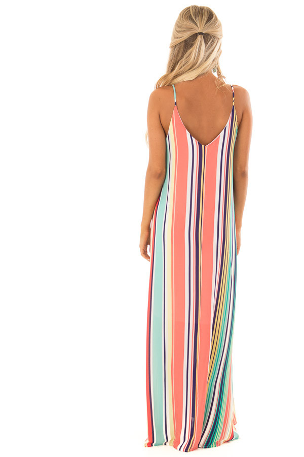 Mint and Blush Multi Color Stripe Sleeveless Dress back full body