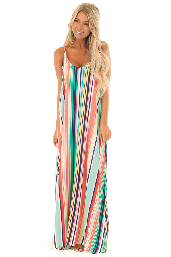 Mint and Blush Multi Color Stripe Sleeveless Dress front full body
