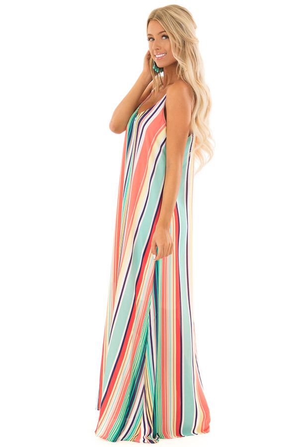 Mint and Blush Multi Color Stripe Sleeveless Dress side full body
