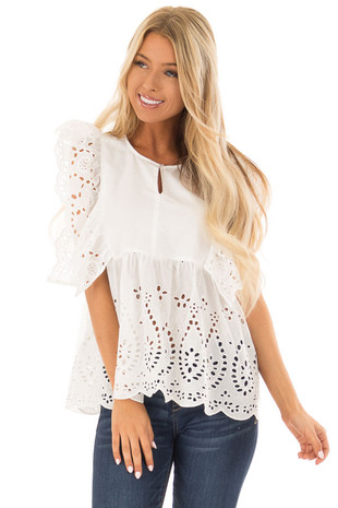 White Short Sleeve Top with Ruffle Eyelet Detail front close up