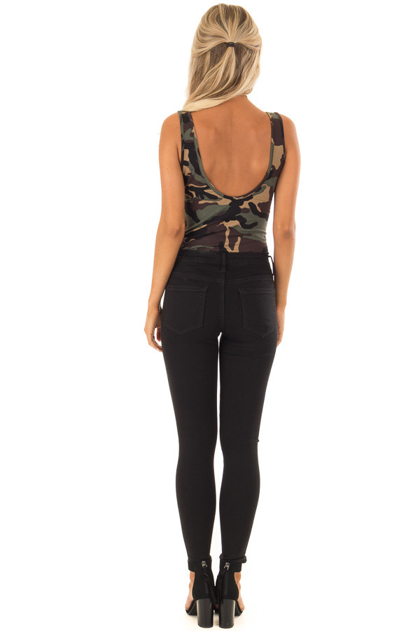 Camo Sleeveless Body Suit with Round Neckline back full body