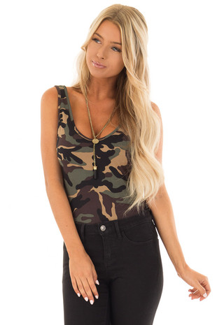 Camo Sleeveless Body Suit with Round Neckline front close up