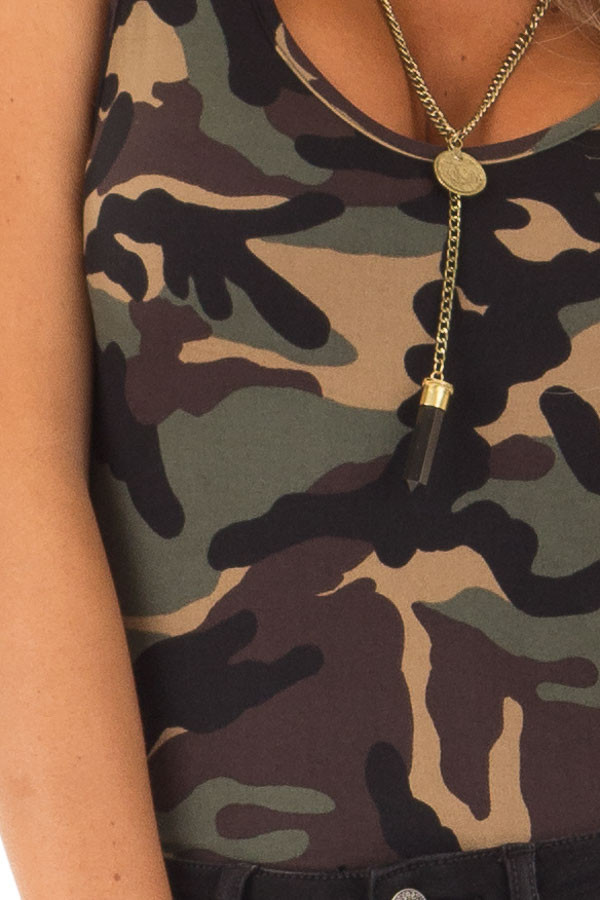 Camo Sleeveless Body Suit with Round Neckline detail