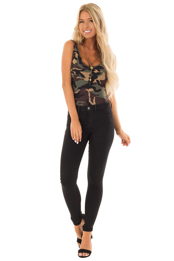 Camo Sleeveless Body Suit with Round Neckline front full body