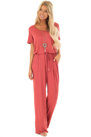 Rust Short Sleeve Jumpsuit with Waist Drawstring front full body