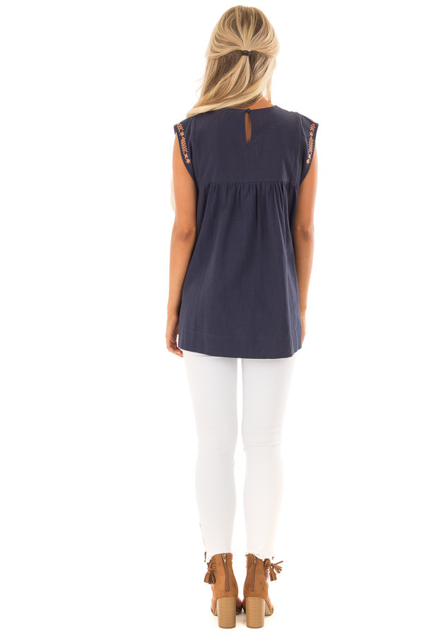 Navy and Bronze Embroidered Tunic with Keyhole Closure back full body
