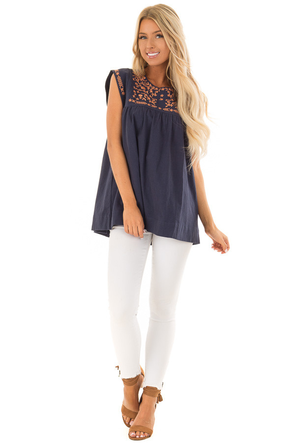 Navy and Bronze Embroidered Tunic with Keyhole Closure front full body