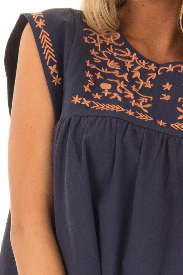 Navy and Bronze Embroidered Tunic with Keyhole Closure detail