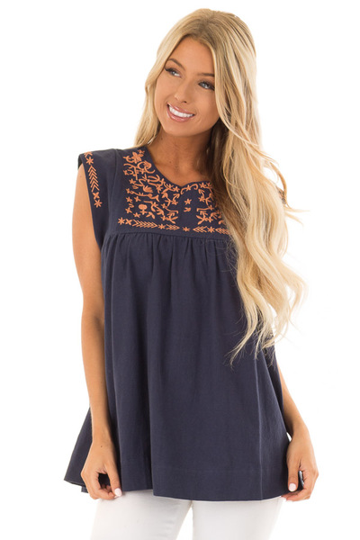 Navy and Bronze Embroidered Tunic with Keyhole Closure front close up