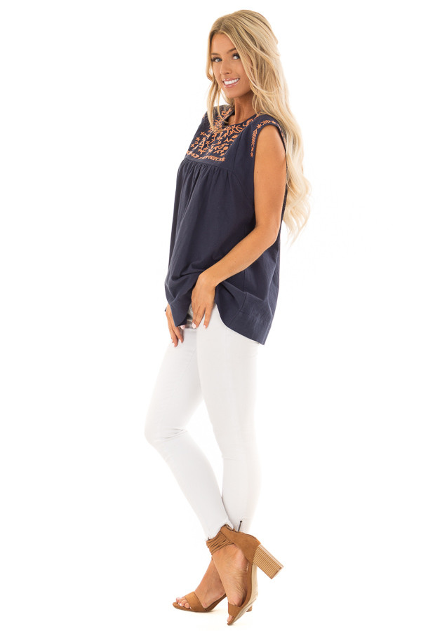 Navy and Bronze Embroidered Tunic with Keyhole Closure side full body
