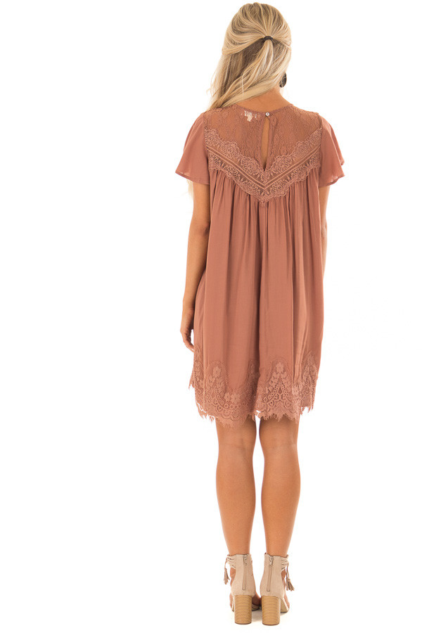 Cinnamon Short Sleeve Dress with Sheer Lace Detail back full body