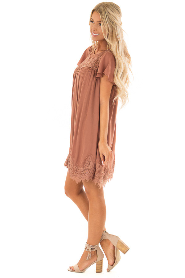 Cinnamon Short Sleeve Dress with Sheer Lace Detail side full body