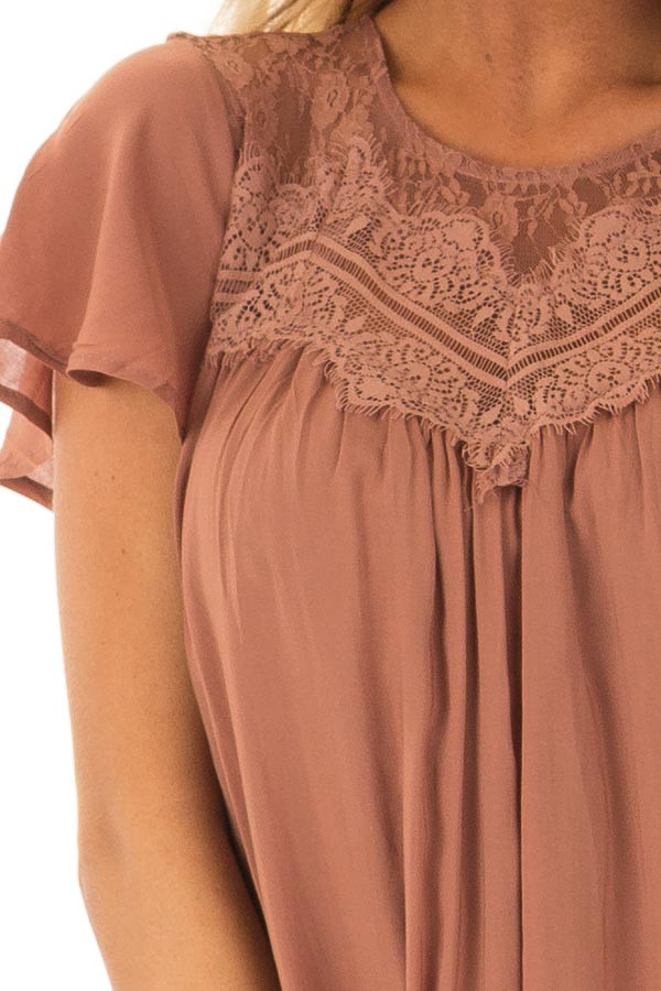 Cinnamon Short Sleeve Dress with Sheer Lace Detail detail