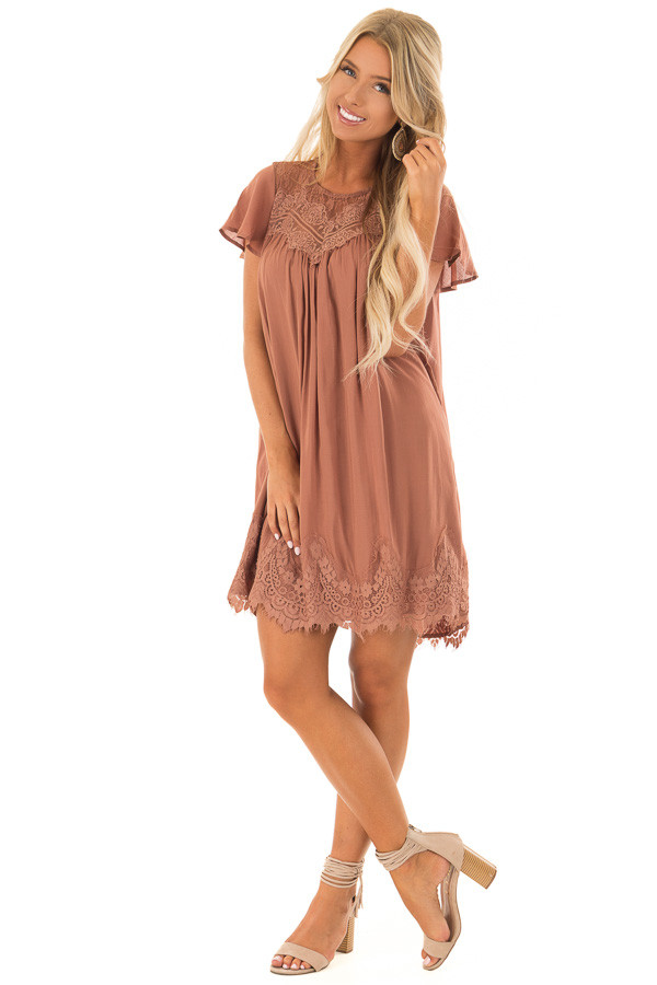 Cinnamon Short Sleeve Dress with Sheer Lace Detail front full body