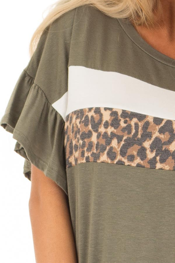 Juniper Ruffle Sleeve Tee with Leopard and Cream Contrast detail