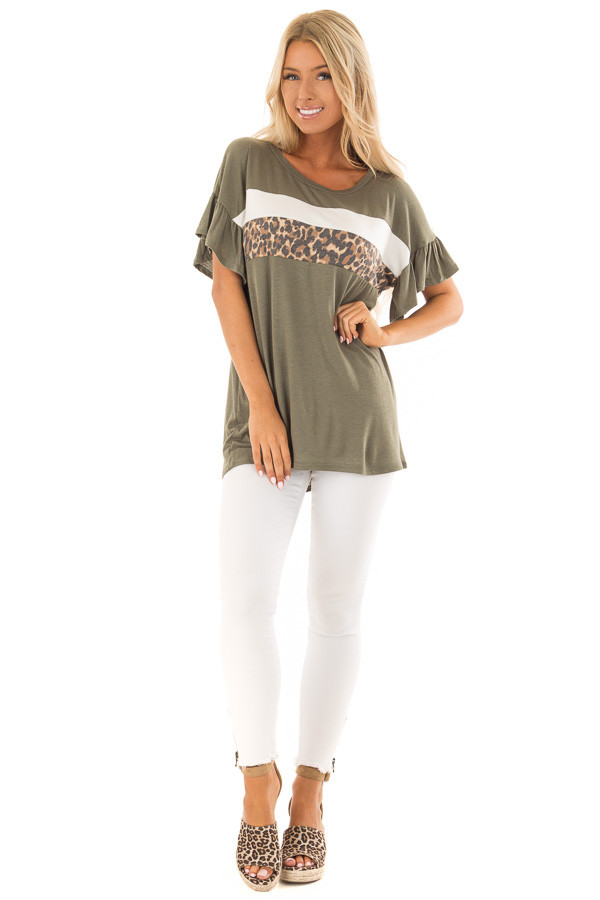 Juniper Ruffle Sleeve Tee with Leopard and Cream Contrast front full body