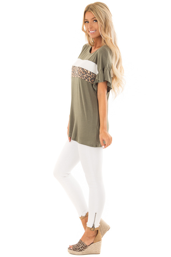 Juniper Ruffle Sleeve Tee with Leopard and Cream Contrast side full body