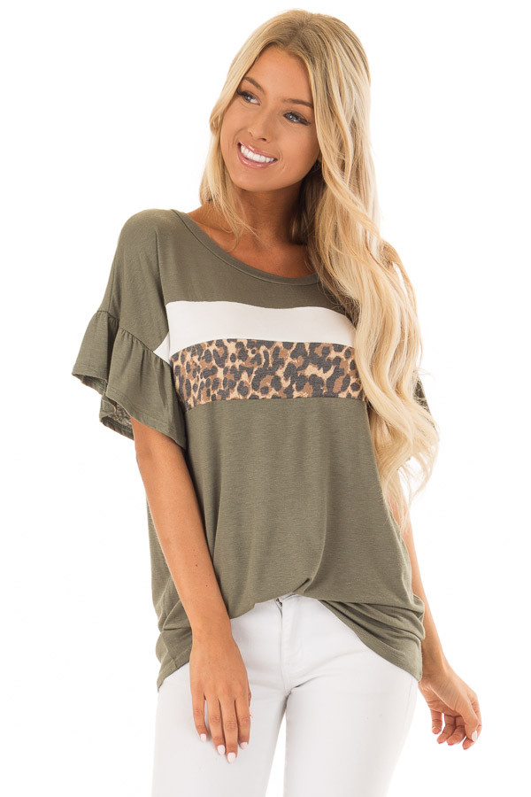 Juniper Ruffle Sleeve Tee with Leopard and Cream Contrast front close up