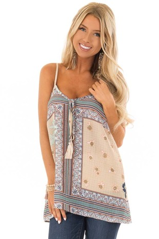 Parchment Sheer Floral Print Tank Top with Tassel Tie front close up