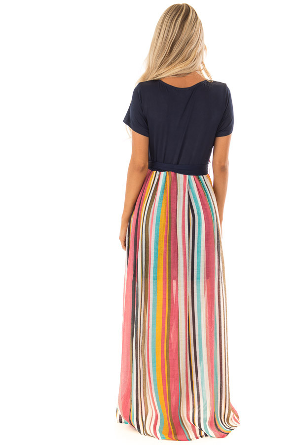 Multi Color Striped Short Sleeve Maxi Dress with Tie Detail back full body